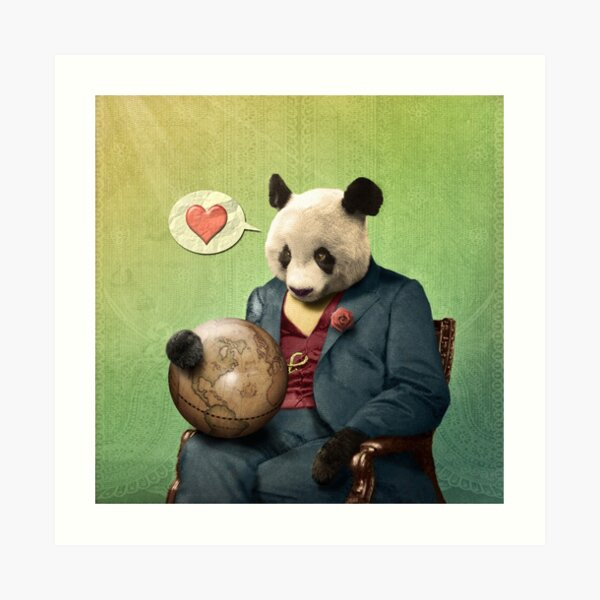 Wise Panda: Love Makes the World Go Around! Art Print