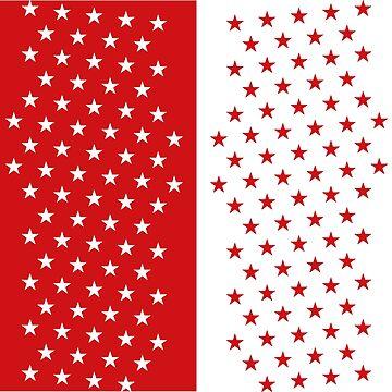 Bright Red & White Stars by emmybdesigns