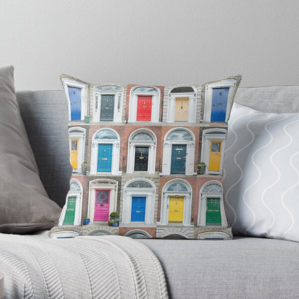 Colourful Dublin doors Throw Pillow