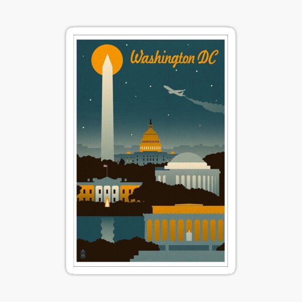 Washington DC Retro Poster  Sticker