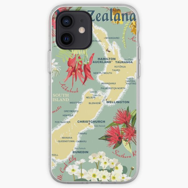 New Zealand Floral Map iPhone Soft Case