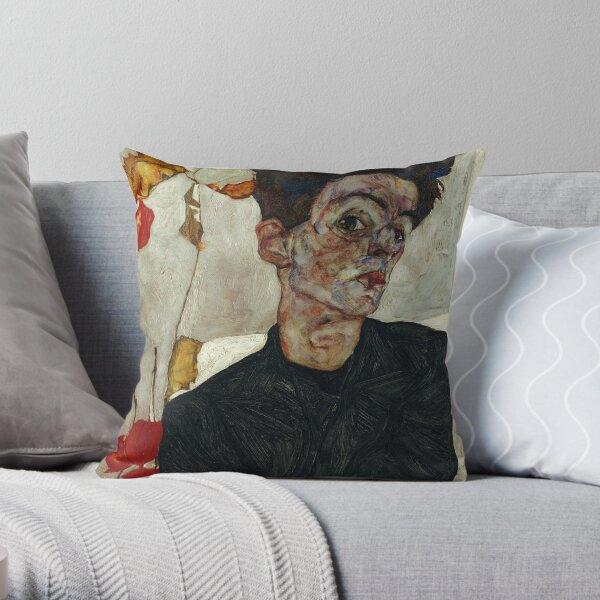 Artista Egon Schiele - autorretrato con la linterna china planta, arte Cojín