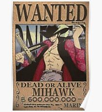 Wanted Mihawk - One Piece Poster