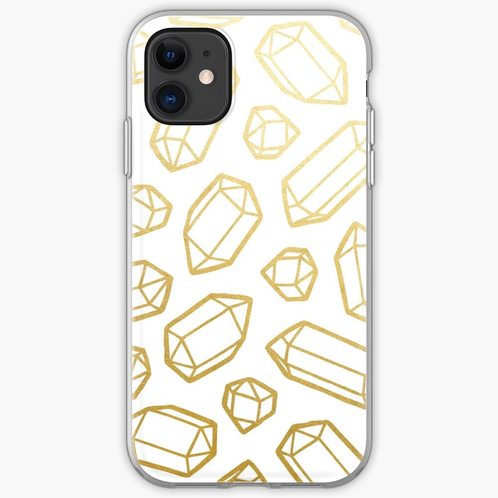 Gold and White Gemstone Pattern iPhone Soft Case