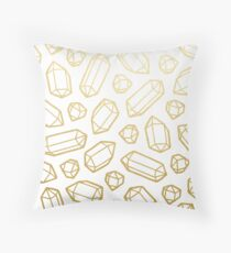 Gold and White Gemstone Pattern Throw Pillow
