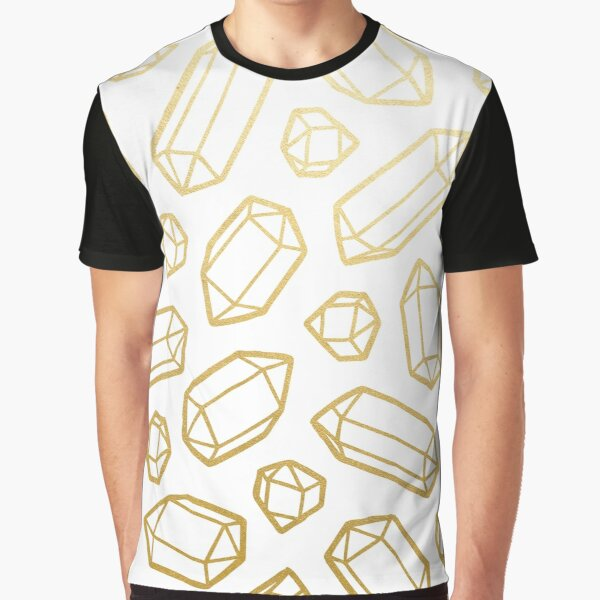 Gold and White Gemstone Pattern Graphic T-Shirt