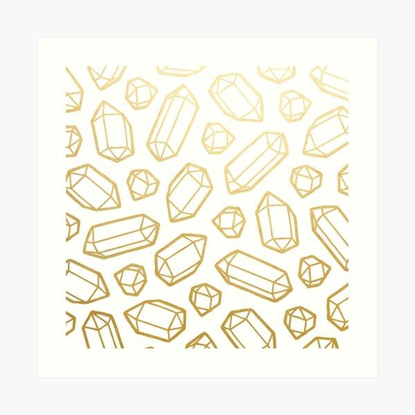 Gold and White Gemstone Pattern Art Print