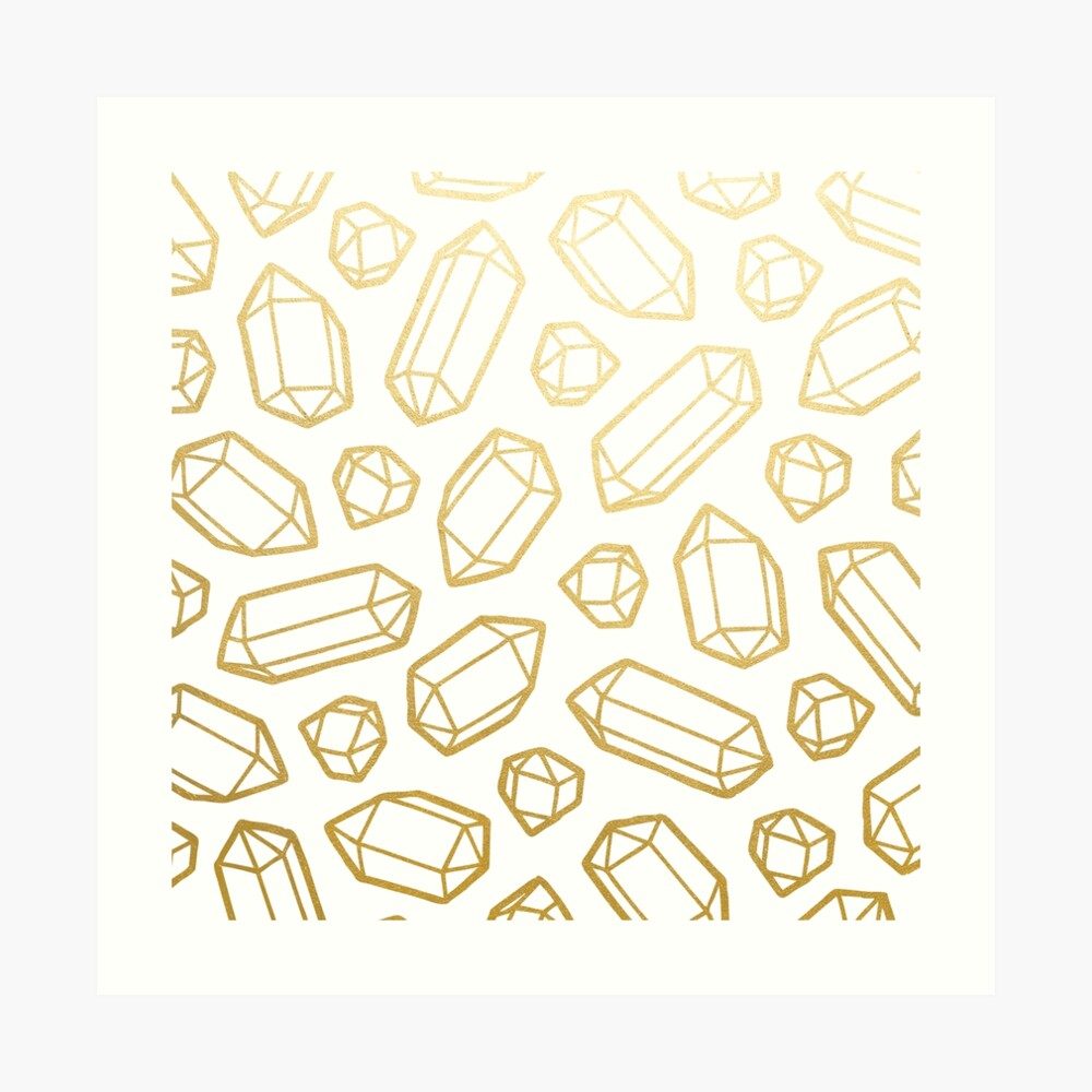 Gold and White Gemstone Pattern Art Print