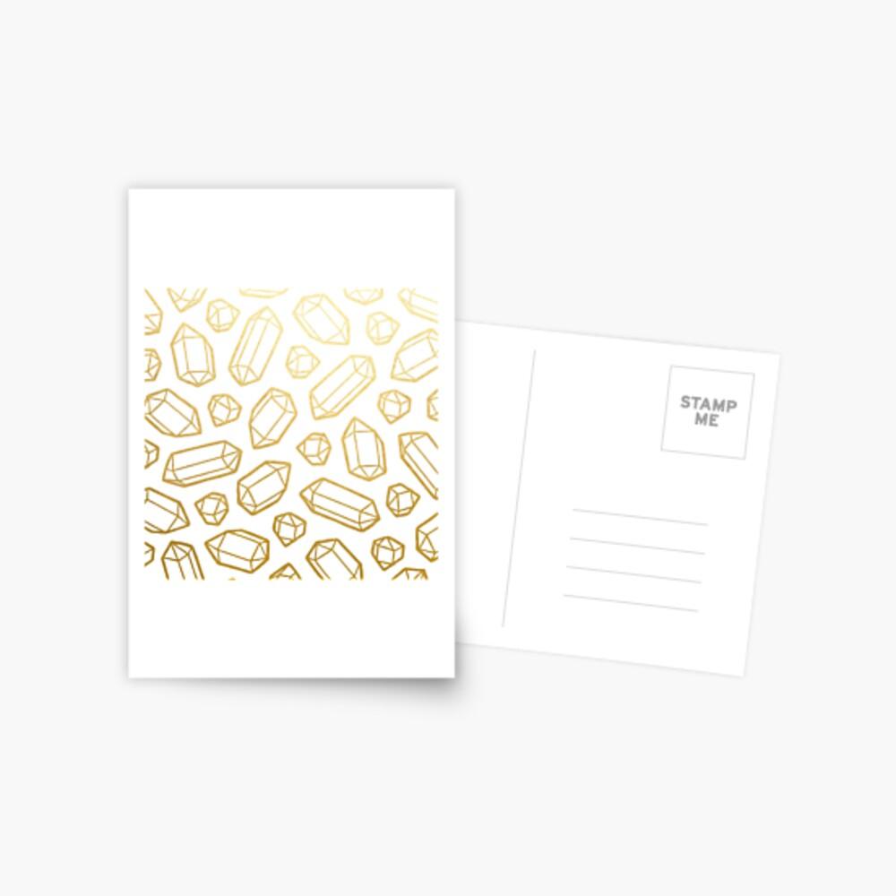 Gold and White Gemstone Pattern Postcard