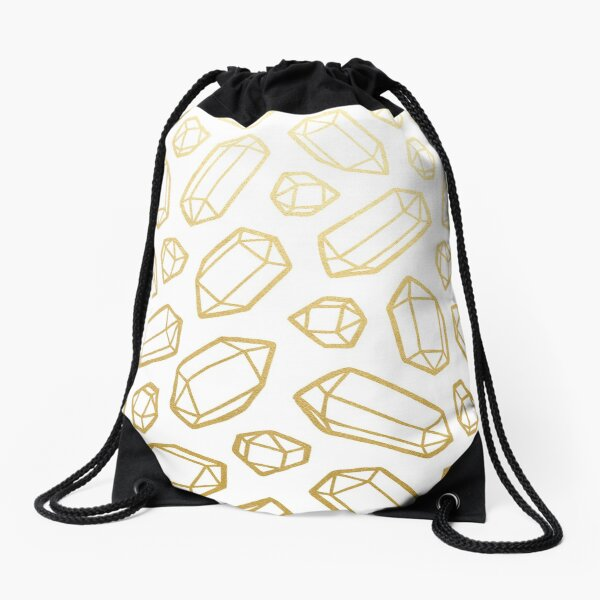 Gold and White Gemstone Pattern Drawstring Bag