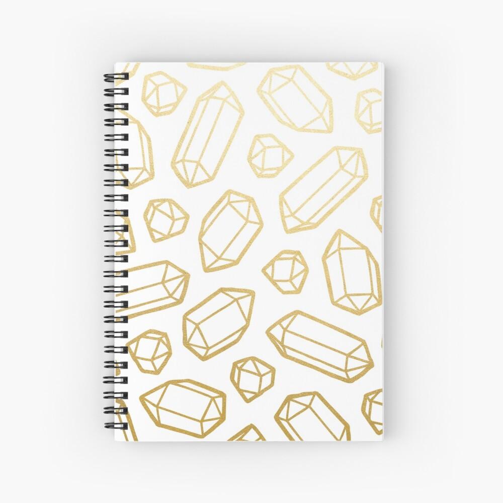 Gold and White Gemstone Pattern Spiral Notebook