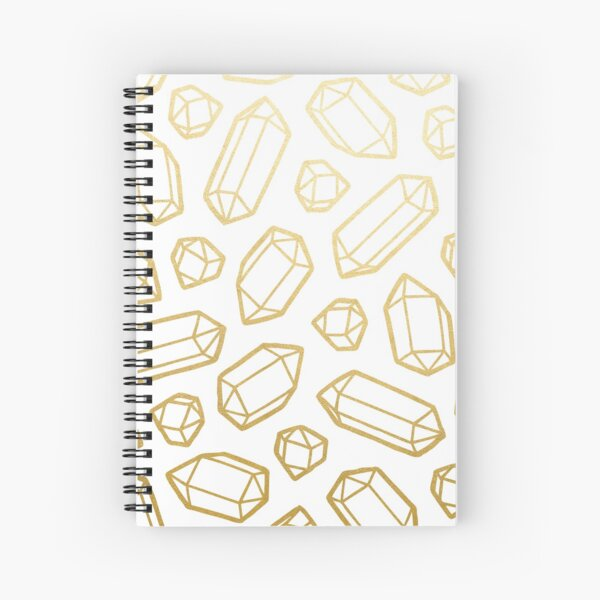 Gold and White Gemstone Pattern Spiral Notebook