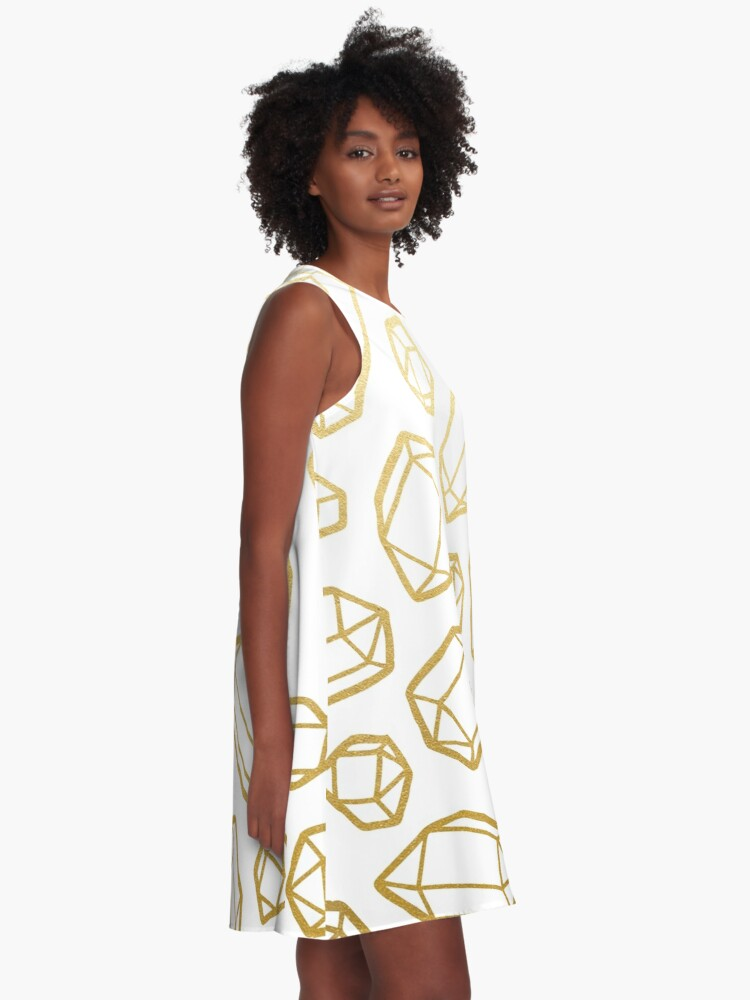 Alternate view of Gold and White Gemstone Pattern A-Line Dress