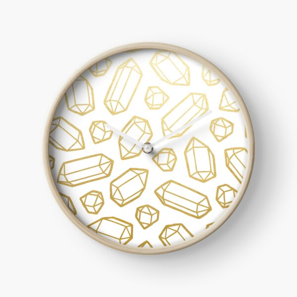 Gold and White Gemstone Pattern Clock