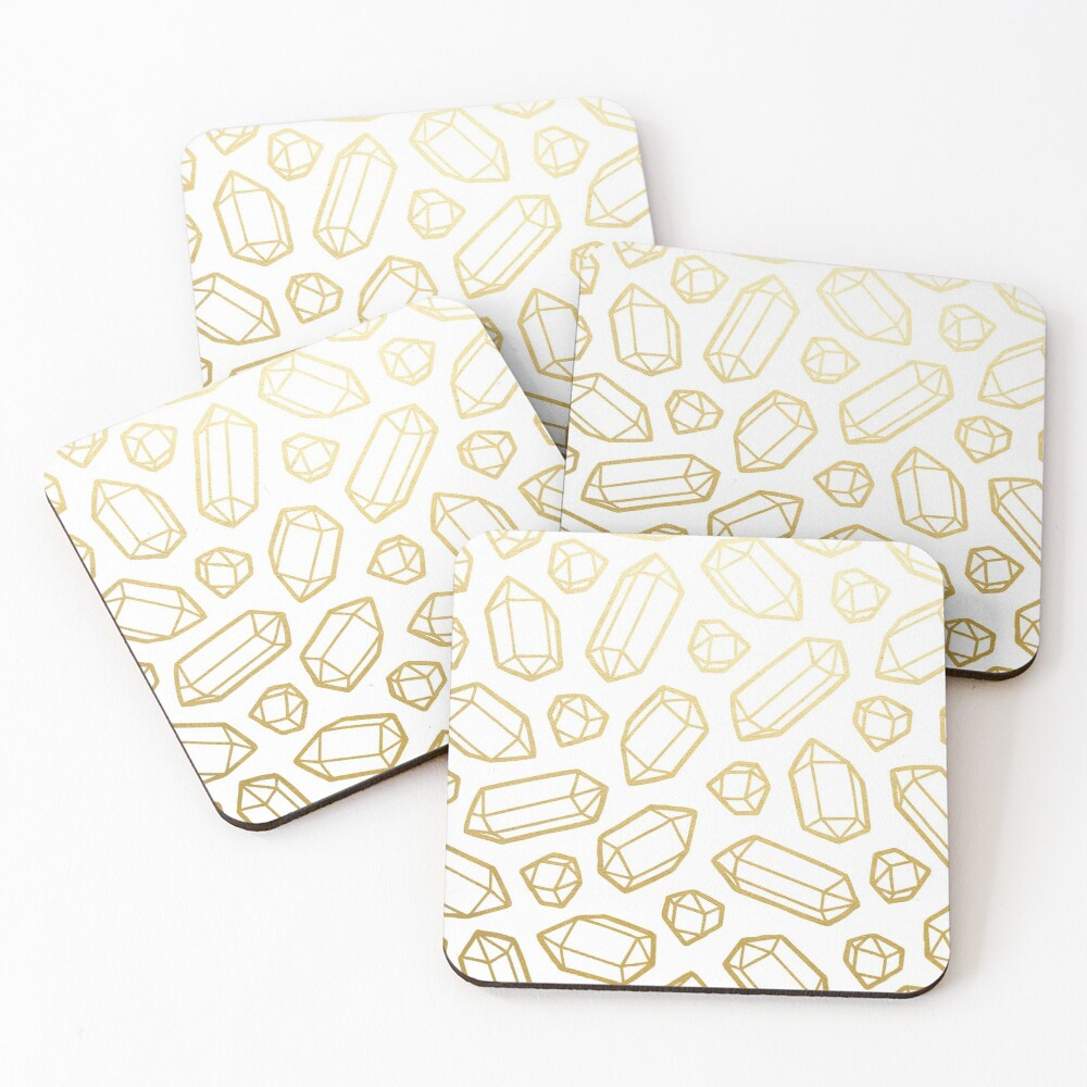 Gold and White Gemstone Pattern Coasters (Set of 4)