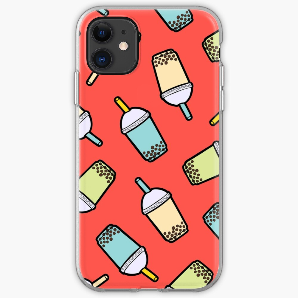Bubble Tea Pattern in Red iPhone Soft Case