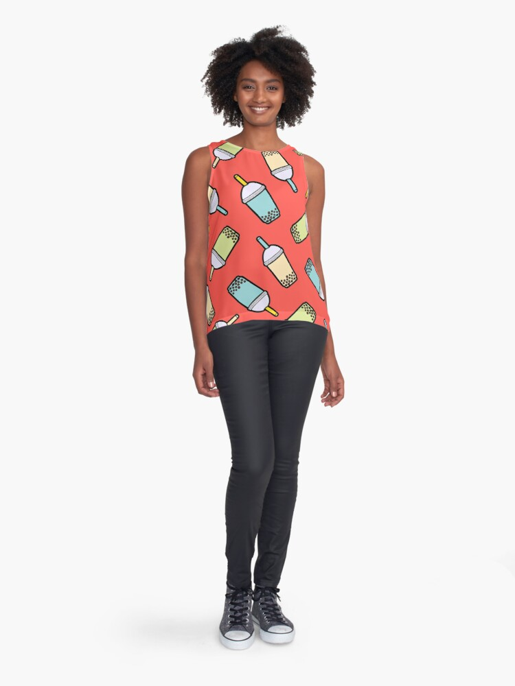 Alternate view of Bubble Tea Pattern in Red Sleeveless Top