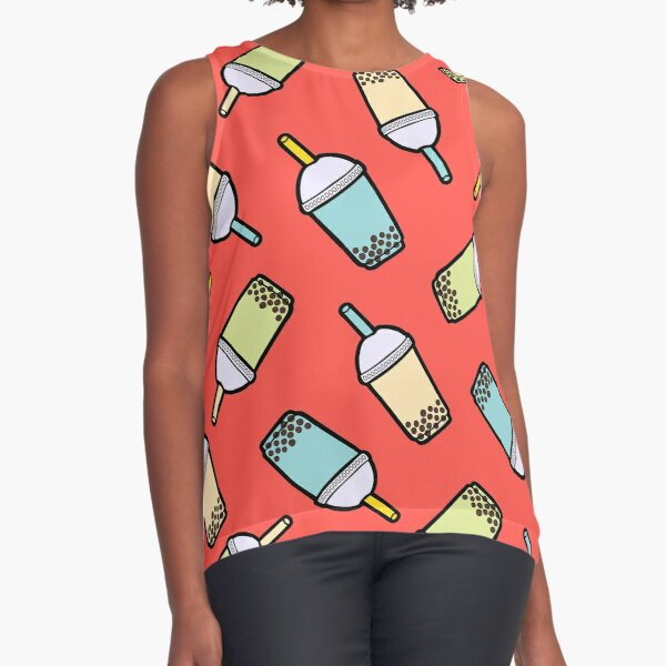 Bubble Tea Pattern in Red Sleeveless Top