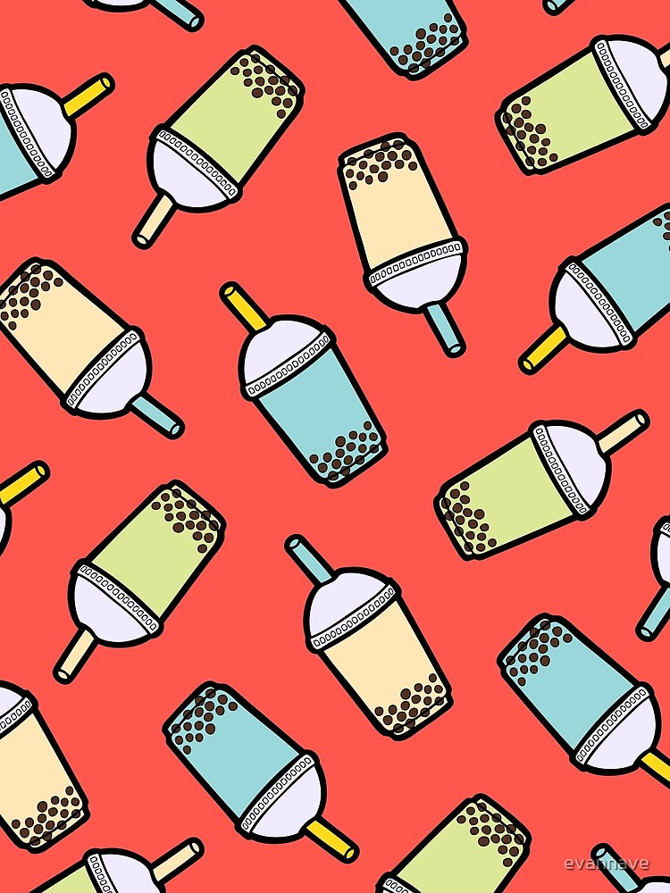 Bubble Tea Pattern in Red by evannave