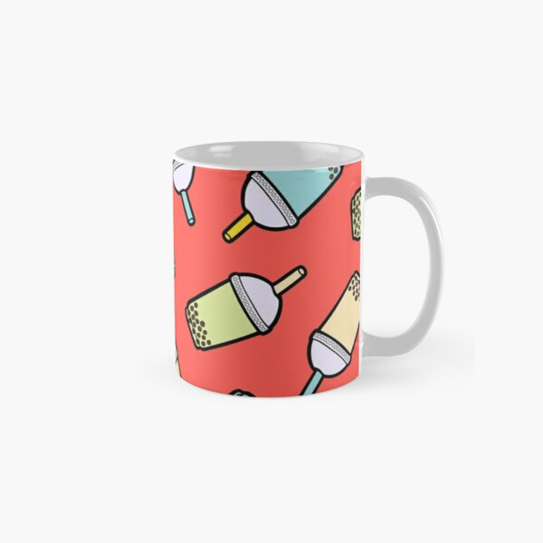 Bubble Tea Pattern in Red Classic Mug