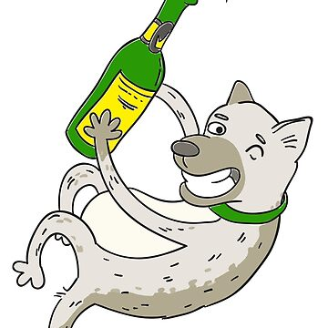 Joyful dog with a bottle of champagne by vasilixa