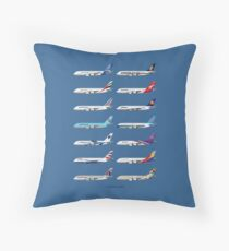 Airbus A380 Operators Illustration - Blue Version Throw Pillow