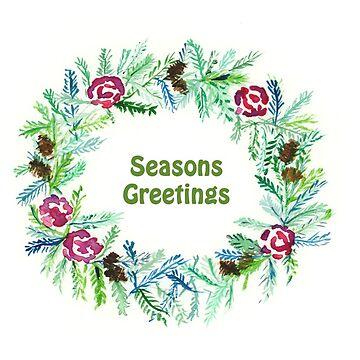 Christmas 2017, Greeting Cards - Wreath - Seasons Greetings by MADEBYCATHERINE