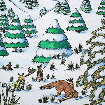 cute fox and rabbits christmas snow scene by pollywolly