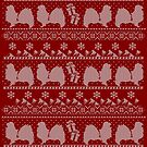 Ugly Christmas sweater dog edition - Tibetan spaniel red by Camilla Mikaela Häggblom