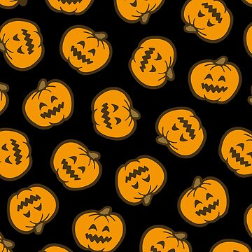 Halloween Jack O' Lantern Pattern in Orange and Black by evannave