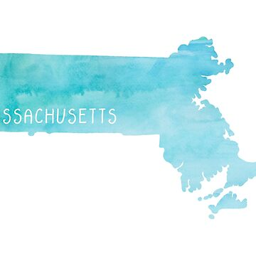 Massachusetts Blue Watercolor by jamiemaher15