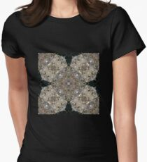 Tan, Gold, Silver and Champagne Sparkle and Shiny Glitter with Black Cross - 3D Macro Photo Pattern T-Shirt