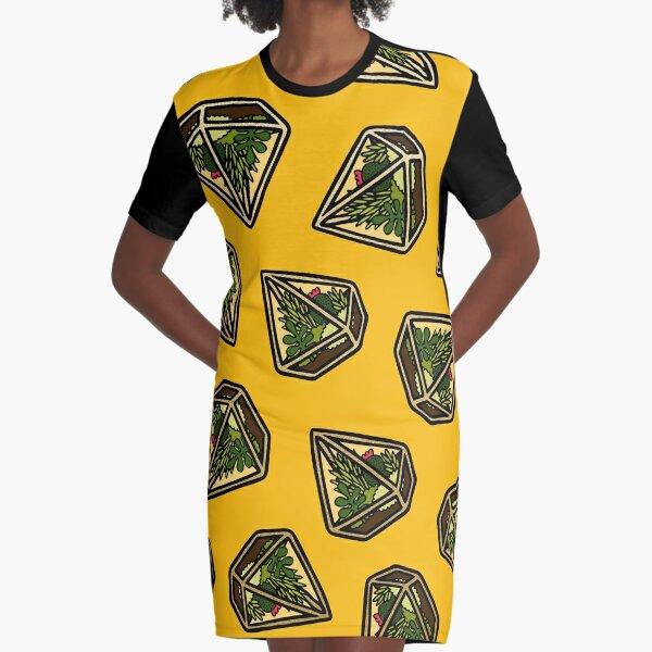 Terrarium Pattern in Yellow Graphic T-Shirt Dress
