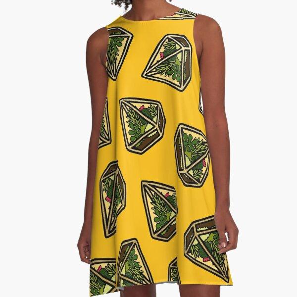 Terrarium Pattern in Yellow A-Line Dress