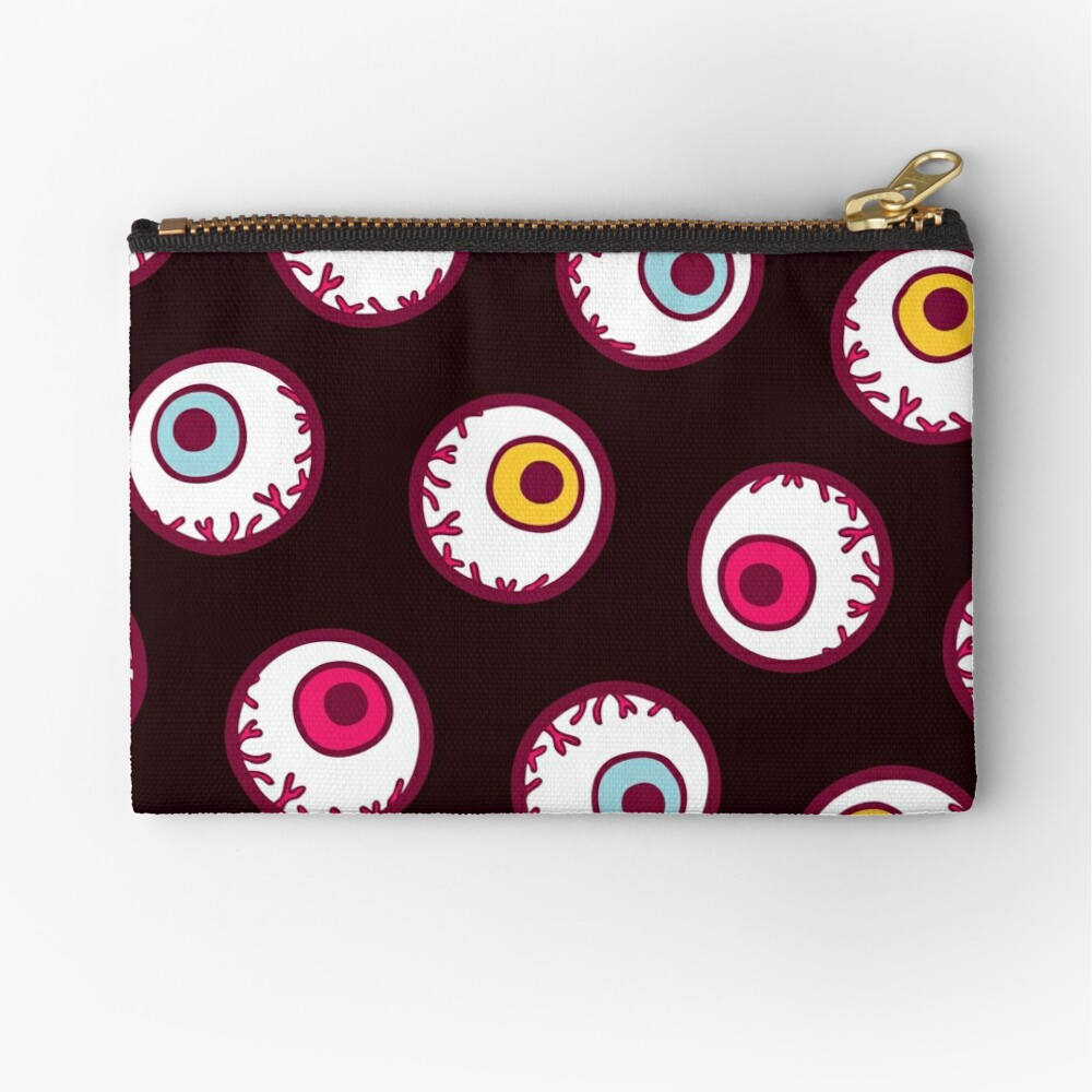 Halloween Candy Eyeball Pattern in Black Zipper Pouch