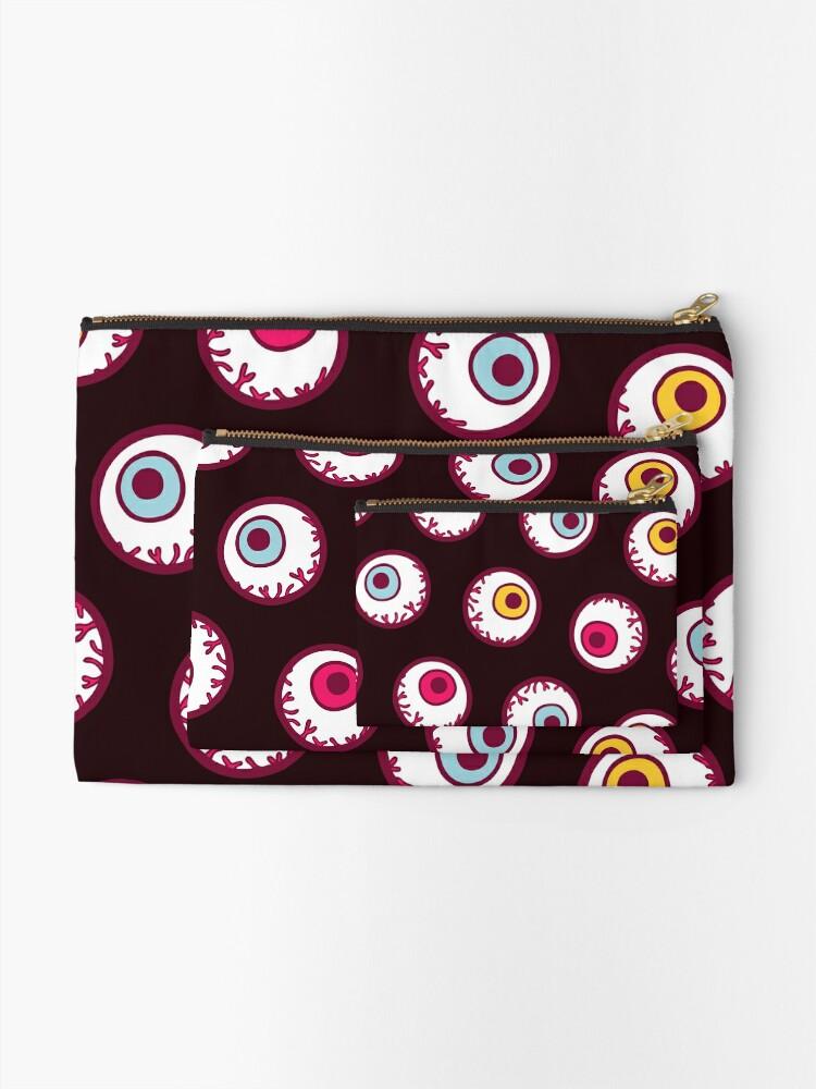 Alternate view of Halloween Candy Eyeball Pattern in Black Zipper Pouch