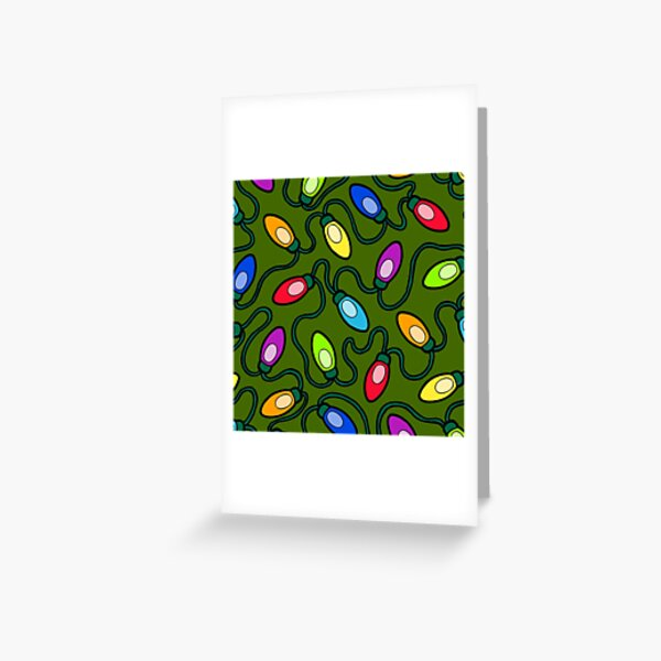 Chrismas Fairy Lights Pattern Greeting Card