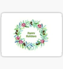 Christmas 2017, Greeting Cards - Wreath - Happy Holidays Sticker