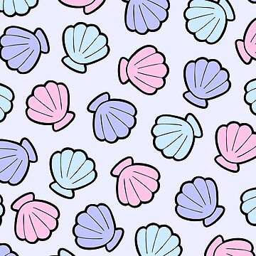 Mermaid Shells Pastel Pattern by evannave