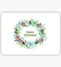 Christmas 2017, Greeting Cards - Wreath - Happy Christmas Sticker