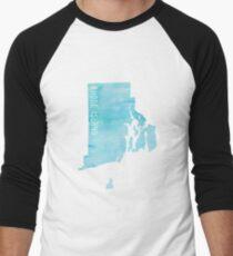 Rhode Island Blue Watercolor Men's Baseball ¾ T-Shirt