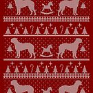 Ugly Christmas sweater dog edition - Bullmastiff / Borboel / Cane corso red by Camilla Mikaela Häggblom