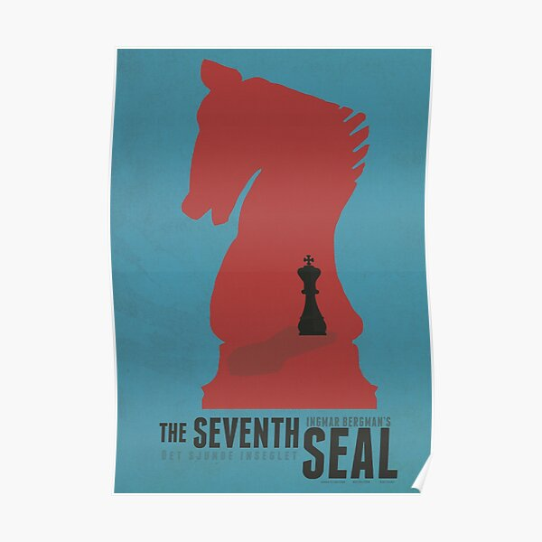 The seventh seal, minimal movie poster, Ingmar Bergman, Swedish epic historical fantasy film with Max Von Sydow. classic world cinema masterpiece, Antonius Block Poster