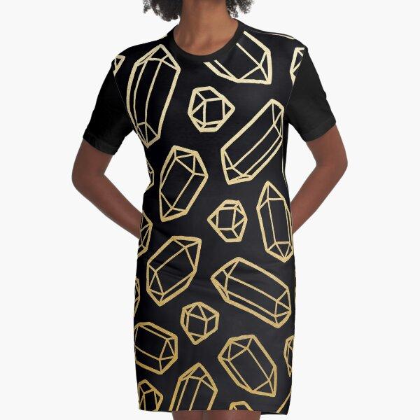 Gold and Black Gemstone Pattern Graphic T-Shirt Dress
