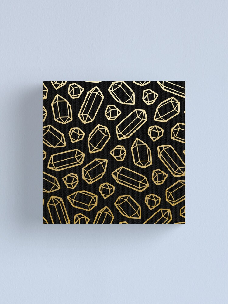 Alternate view of Gold and Black Gemstone Pattern Canvas Print
