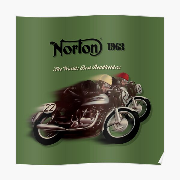 Norton Vintage TT Motorcycle Motorbike Poster from 1963 by MotorManiac Poster