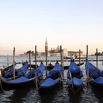 Row of Gondolas in Venice by dunawori