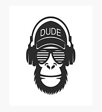 Monkey with headphones Photographic Print