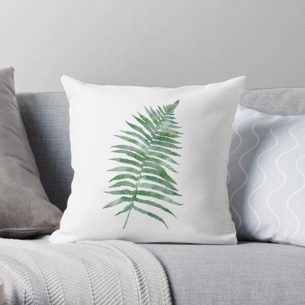 Tropical Watercolor Fern Leaf in Dark Green Throw Pillow