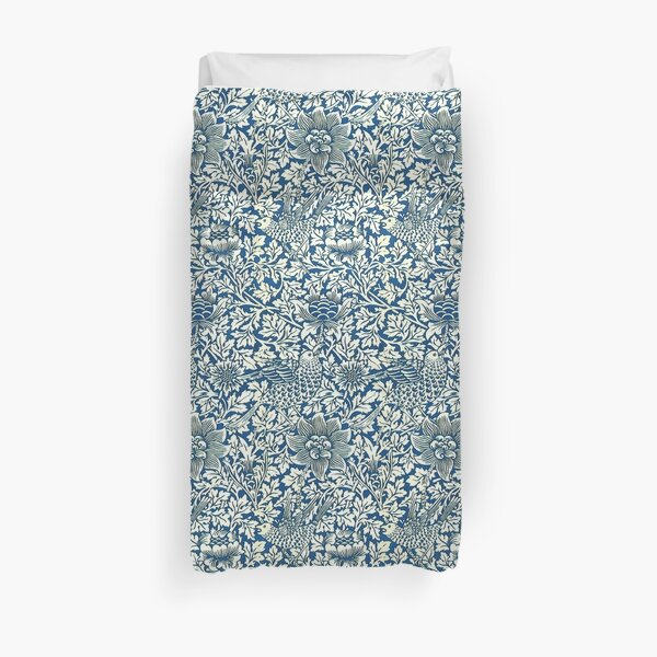 Indigo Blue and White William Morris Pattern Duvet Cover
